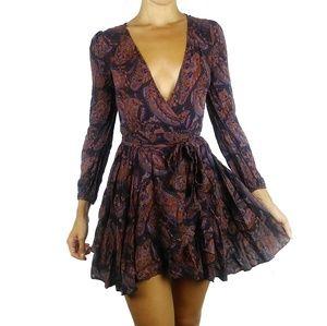 Ecote UO boho paisley v-neck wrap mini dress